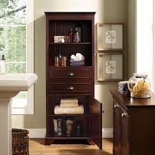 Bathroom Floor Storage Cabinet Bathroom Brown Mahogany Wood Bath Cabinet With Striped Pattern