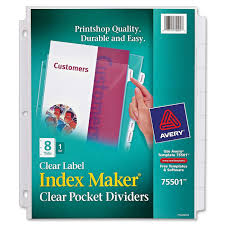 avery index maker clear pocket view dividers walmart com