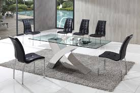 Glass Kitchen Tables And Chairs Extendable Glass Top Leather - Chrome kitchen table