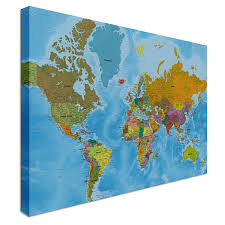 Uk World Map by Canvas World Map Large Canvas Amazon Co Uk Kitchen U0026 Home