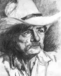 cowboy in hat sketch drawing by kate sumners