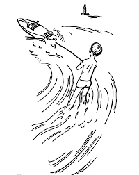 Water Skiing Athlete Pull Boat Coloring Pages Batch Coloring