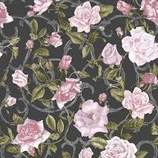 muriva rose trellis floral wallpaper black pink 135501