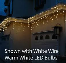warm white led icicle lights on white wire novelty lights inc