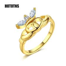 claddagh engagement ring r443 women gold color antique claddagh engagement ring large