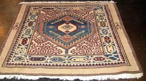 Tribal Area Rug Vintage Afghan Tribal Square Rug Brown Burgundy Blue