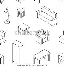sofa table chair set 3d furniture line drawn sofa stock vector 445526902 shutterstock