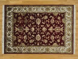 2x4 Rug 5 U0027 X 7 U0027 Wool And Silk Burgundy Rajasthan Hand Knotted Oriental Rug