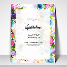 invitation card template with watercolor flowers vector premium