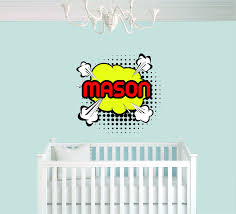 pop art comic custom name baby boy wall decal nursery for home