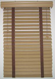 interior design window with tan bali blinds on white wall for