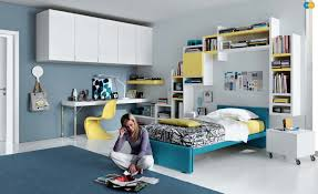 Beautiful Teens Bedroom With Blue Bed Frame And Cool Printed - Designing teenage bedrooms