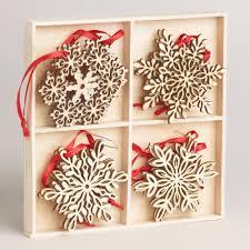 wood laser cut snowflake ornaments set of 12 snowflake