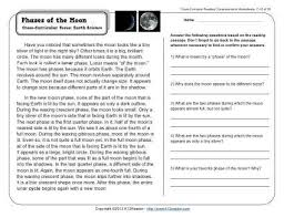 phases of the moon comprehension worksheets reading