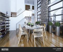dining room modern style with fireplace and home wine rack served