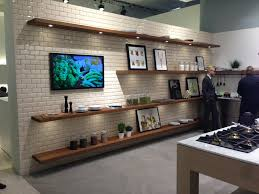 floating kitchen shelves how can they benefit us amaza design sleek backsplash surface and long brown color floating kitchen shelves near lcd tv facing amusing counter