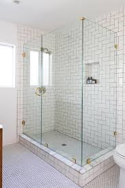 beveled bathroom wall mirrors white subwayiles with black home