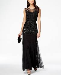 adrianna papell beaded illusion mermaid gown dresses women