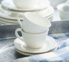Meritage Hosts Pottery Barn Design Emma Cup And Saucer Set Of 4 Pottery Barn