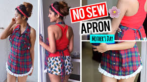 diy no sew apron from shirt gift ideas for mother u0027s day youtube