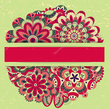Invitation Cards Design With Ribbons Floral Background With Mandalas Round Shape Good For Wedding