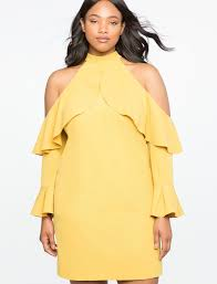 cold shoulder dress cold shoulder halter dress with ruffle details eloquii