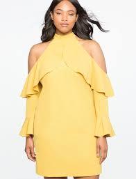 cold shoulder dress cold shoulder halter dress with ruffle details eloquii