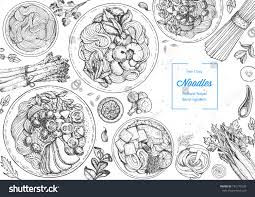engraved dishes asian food engraved sketch noodle dishes stock vector 745775539