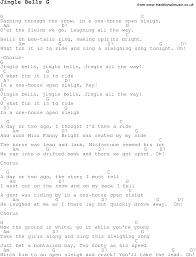 christmas carol song lyrics with chords for jingle bells g