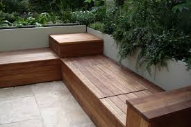 Build A Storage Bench Bench Deck With Built In Bench Outdoor Living How To Build A Low