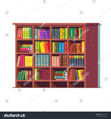 big library wooden bookcase full stacked stock vector 688135396