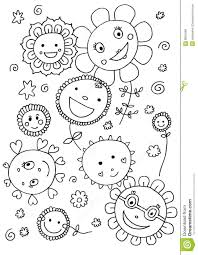 cute flowers coloring page royalty free stock images image 8801689