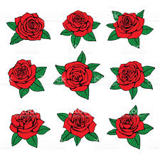 red roses with green leaves vector design for tattoo stock vector