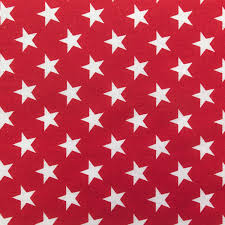 clearance fabric home decor cotton super stars in red canvas by
