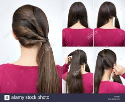 hair tutorial simple hairstyle pony tail with twisted hair tutorial step by step
