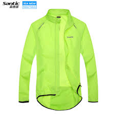 fluorescent cycling jacket santic cycling jacket bike windproof coat bicycle windbreaker long