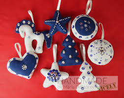 felt christmas ornaments felt christmas ornaments set in white and blue