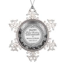 25th wedding anniversary christmas ornament silver wedding anniversary ornaments keepsake ornaments zazzle
