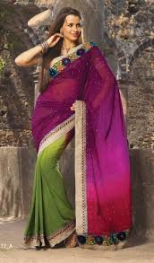 two colour combination saree awsome look with stylist new two color combination saree