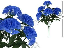 blue carnations 7 stem carnations with baby breath artificial flower
