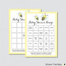 bumble bee baby shower bingo cards in yellow printable blank
