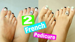 2 easy u0026 quick french pedicure designs 2 toe nail art designs