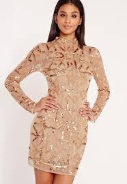 embellished dress premium high neck sequin embellished bodycon dress gold missguided