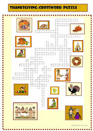 thanksgiving new crossword puzzle for pre intermediate with key