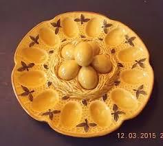 deviled eggs serving dish vintage deviled eggs serving dish yellow glaze nested eggs