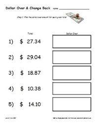 over rounding up u0026 change back money worksheets random numbers