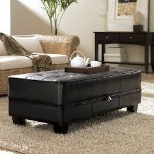 rectangular black leather tufted ottoman coffee table with storage