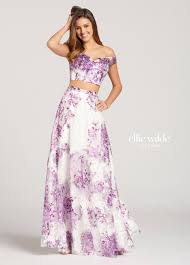 two piece off the shoulder printed lace a line prom dress ew118112