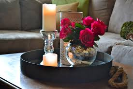 Tray Coffee Table by Black Metal Round Tray Coffee Table With Candle Holder And Flower