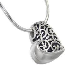 urn pendants sideways swirl heart cremation jewelry